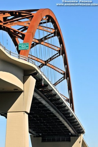 A view of the Sauvie Island Bridge near Portland, Oregon