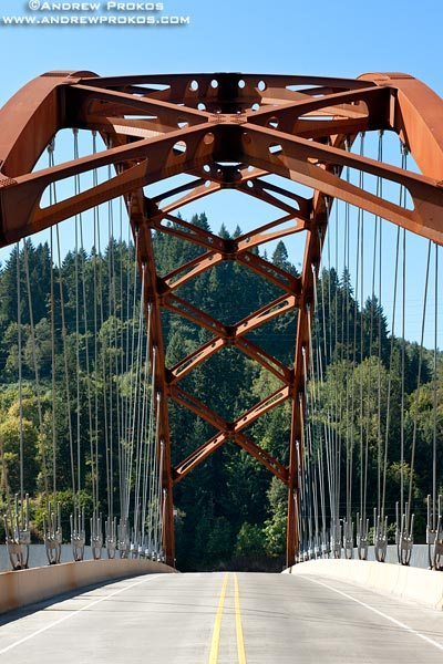A view of the Sauvie Island Bridge's tied-arch structure from the bridge's deck. Portland, Oregon
