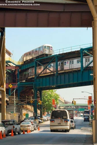 A bi-level subway train overpass in Long Island City, New York