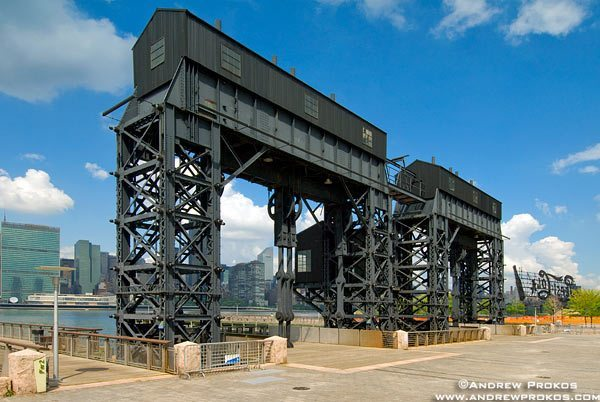 The gantries at Gantry Plaza State Park, Long Island City, Queens.