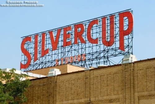 The famous free-standing red sign over Silvercup Studios, Long Island City, Queens.