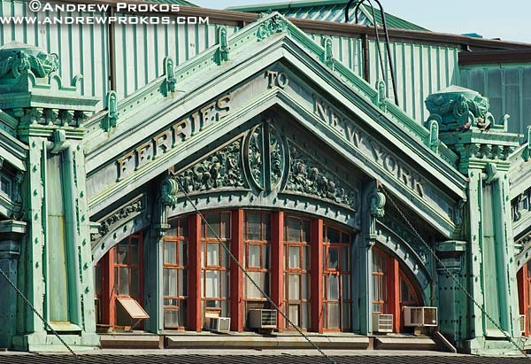 The ornate facade of Hoboken Train Station, Hoboken, New Jersey