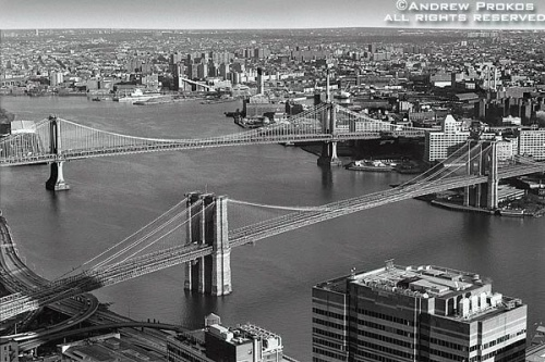 An aerial view of the Brooklyn Bridge in black and white, New York City