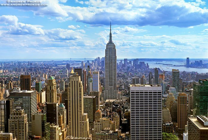 A cityscape of New York City and the Empire State Building as seen from Rockefeller Center.