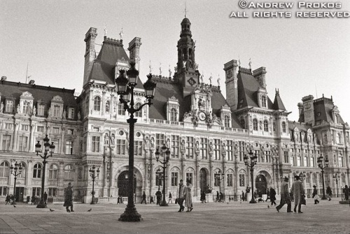 A view of the Hôtel de Ville in Paris, France