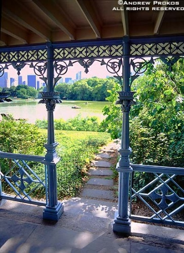 A photo of the Victorian cast iron gazebo in Central Park in Summer