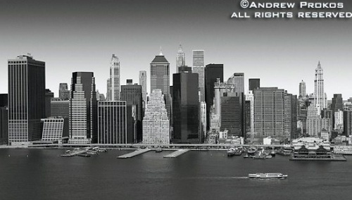 An aerial view of Lower Manhattan in black and white, New York City