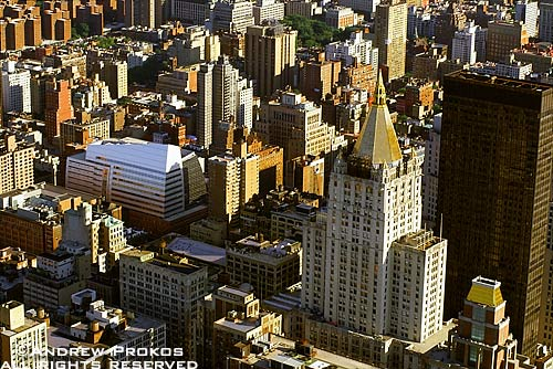 An aerial view of the New York Life Building and surrounding area, New York City
