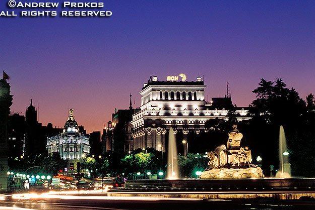 A view of Plaza de las Cibeles at dusk, Madrid, Spain
