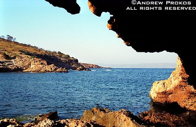 An Aegean sea cove at Sounion, Greece