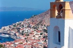 A view of the island of Hydra with church campanile, Greece