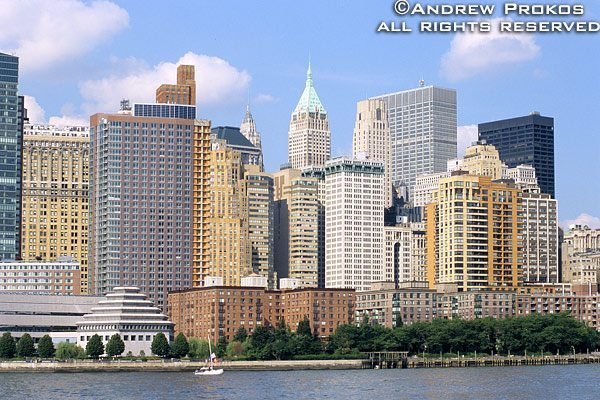 A view of Lower Manhattan and the Museum of Jewish Heritage from the Hudson River, New York City