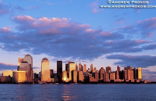 A view of Lower Manhattan from Jersey City, New Jersey at sunset