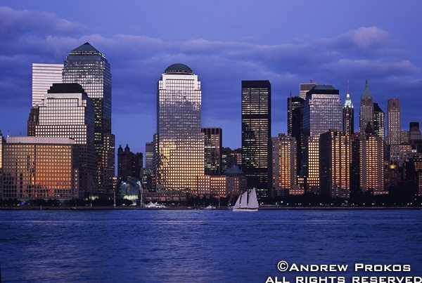 Skyline of Lower Manhattan and the World Financial Center from New Jersey at Dusk
