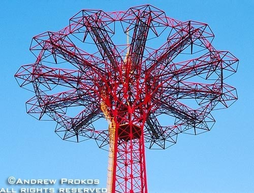 A detail photo of the parachute jump at Coney Island, Brooklyn, New York