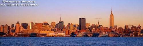 A panorama of the New York skyline as seen from Hoboken, New Jersey at sunset