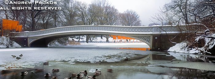 Panorama of Central Park in Winter with Bow Bridge under a blanket of snow, New York City