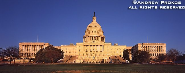 A panorama of the United States Capitol Building's West Front at sunset, Washington D.C.