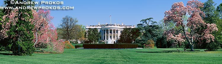A panorama of the White House as seen from the South Lawn, Washington DC