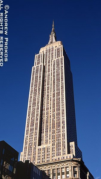 A vertical panorama of the Empire State Building, New York City