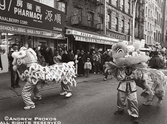 A black and white street photo of men in dragon costumes dancing in the Chinese New Year festival