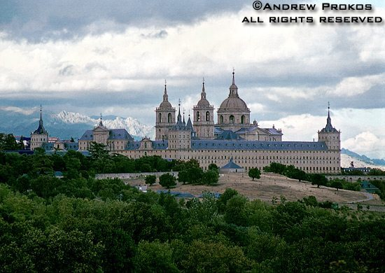 View of the Escorial Palace situated on a hilltop overlooking the plains of Castille, Spain