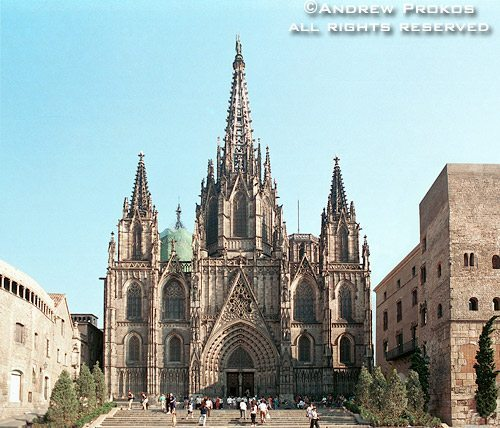A wide angle view of Barcelona's gothic cathedral, Barcelona, Spain
