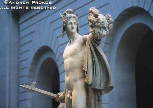 Statue of Perseus with the head of Medusa in the Metropolitan Museum's Petrie Court, New York City