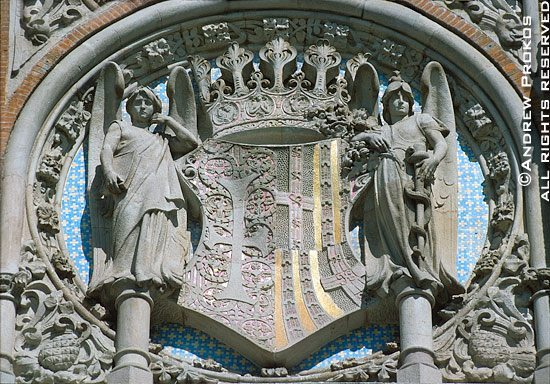 Architectural detail from Gaudi's Sant Pau Hospital, Barcelona, Spain<br><br>