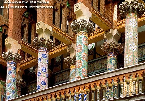 A detail of the columns from Barcelona's Palau de la Musica Catalana, Spain