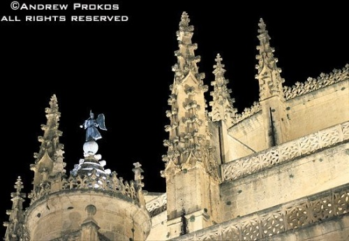 An architectural detail from Segovia Cathedral at night