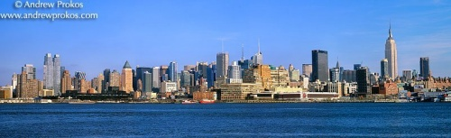A panorama of the New York skyline as seen from Hoboken, New Jersey during the day