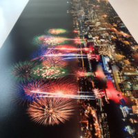 A large format fine art print of the fireworks over New York City skyline on the fourth of July.