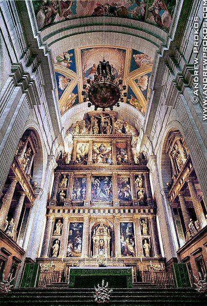 Interior of the royal basilica at El Escorial, Spain
