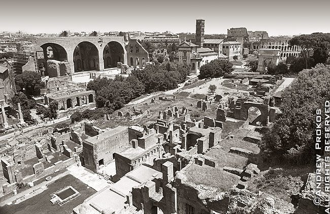 A panoramic view of the ancient Roman Forum in black and white, Rome, Italy