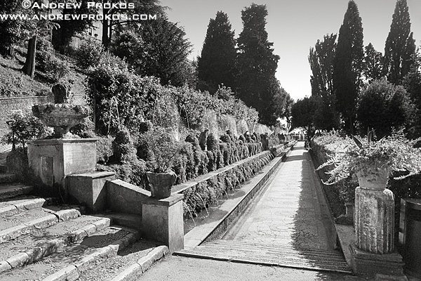 View of the Hundred Fountains in the gardens of the Villa D'Este, Tivoli, Italy