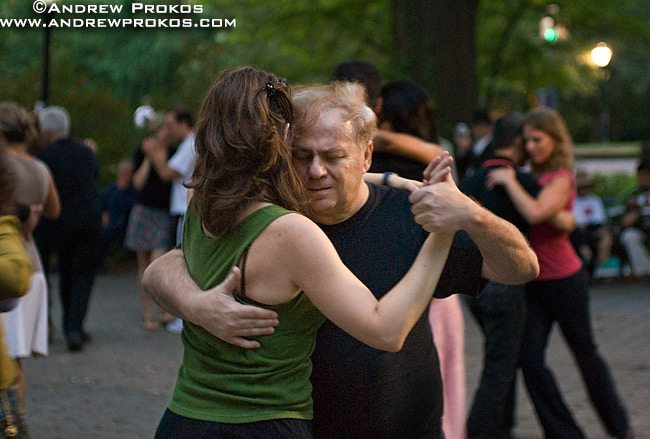 Tango dancers on a late Summer's eve in Central Park, NYC