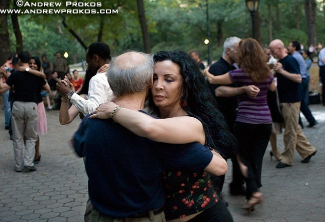 A couple dancing the Tango on a late Summer's eve in Central Park, NYC