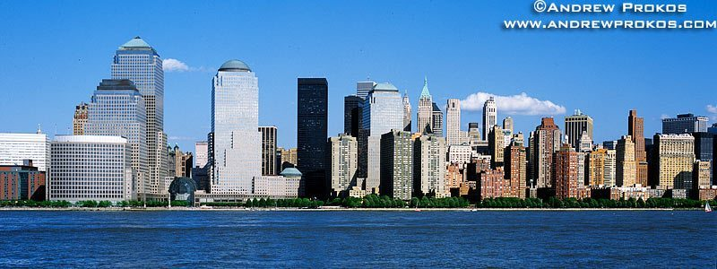 The skyline of Lower Manhattan, the Hudson River, and the towers of the World Financial Center as seen from New Jersey