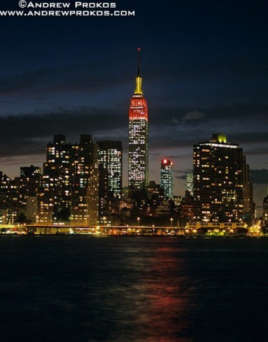 A skyline of the Empire State Building at night, New York City