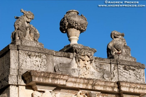 An architectural detail photo from one of the stone gates at Vizcaya Museum, Miami, Florida