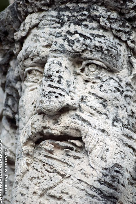 Close-up view of a coralstone herm in the gardens of Vizcaya Museum, Miami, Florida