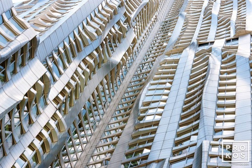 An architectural detail photo from the warped facade of 8 Spruce Street by Gehry Partners, Manhattan.