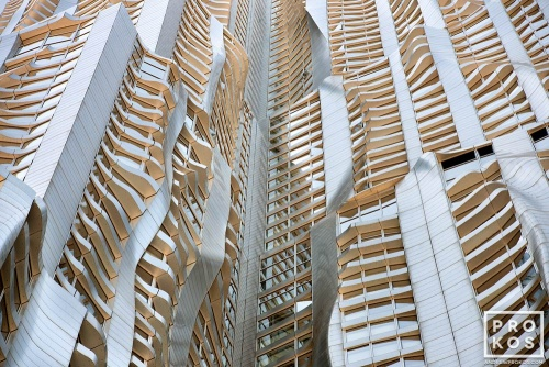 An architectural detail photograph from the warped facade of 8 Spruce Street by Gehry Partners, Manhattan. Fine art prints of this photo are available framed in various styles.
