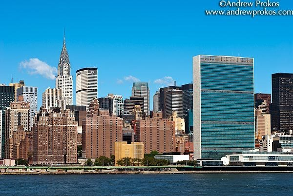 A view of East Midtown Manhattan with the United Nations, Chrysler Building, and Met Life Building, New York City