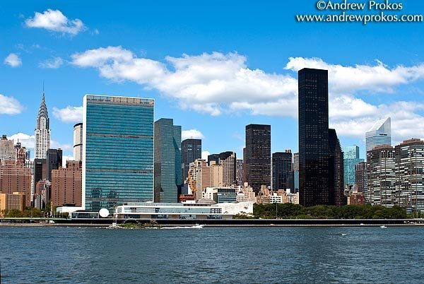 A view of the United Nations, the Chrysler building, and Trump World Tower, New York City<br>