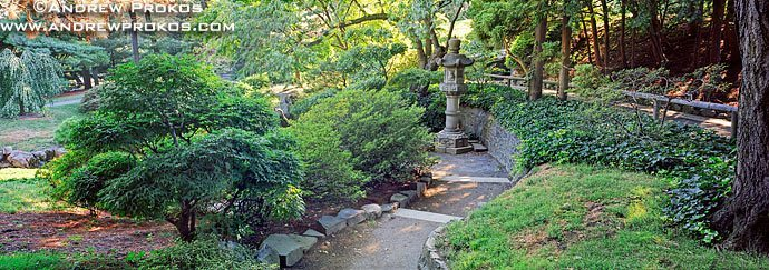 A high-definition panoramic landscape photo from the Japanese Garden at the Brooklyn Botanic Garden in New York City