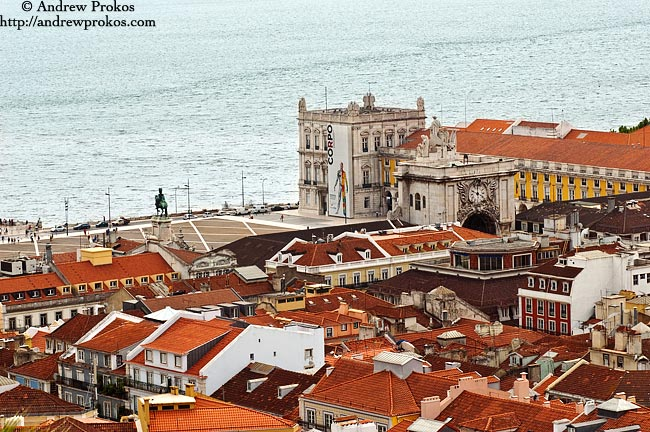 A view of the Praca Do Comercio in Lisbon, Portugal