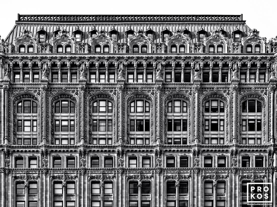 A fine art architectural photo of the ornate facade of 90 West Street in black and white, Manhattan, NYC