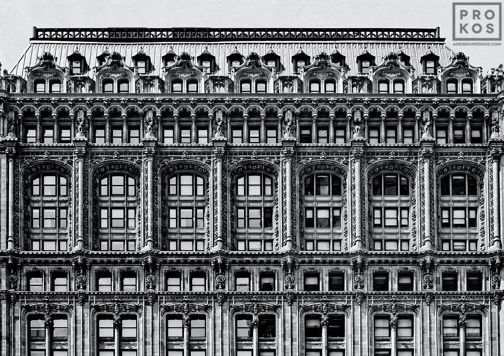 The ornate facade of 90 West Street in Lower Manhattan, New York City